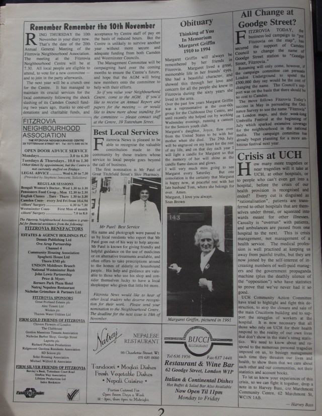 Page 2 Fitzrovia News no 66 September 1994
