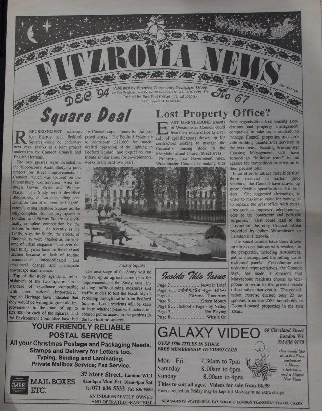 Front Page Fitzrovia News no 67 December 1994