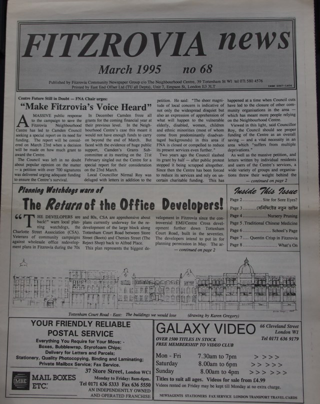 Front Page Fitzrovia News no 68 March 1995