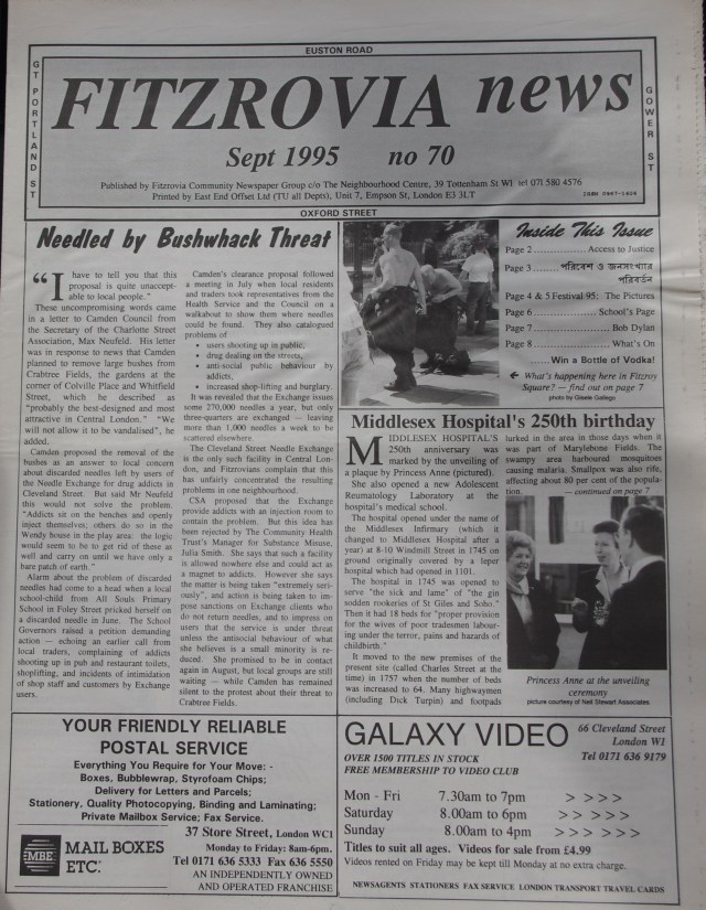 Front Page Fitzrovia News no 70 September 1995