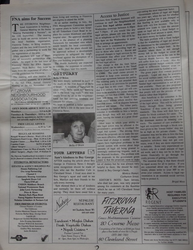 Page 2 Fitzrovia News no 70 September 1995