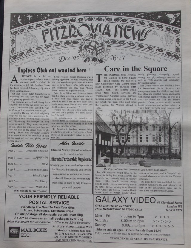 Front Page Fitzrovia News no 71 December 1995