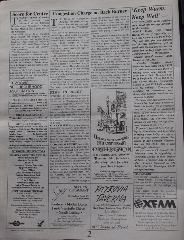 Page 2 Fitzrovia News no 71 December 1995