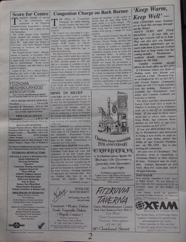 Page 2 Fitzrovia News no 71 December 1995