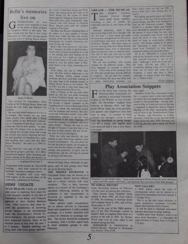 Page 5 Fitzrovia News no 71 December 1995