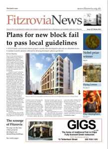 Front page of Fitzrovia News, December 2014.
