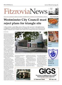 Front page of Fitzrovia News, number 136,  3 March 2015.