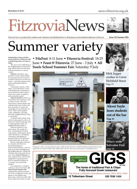 Front page of Fitzrovia News, summer 2016, FN141.