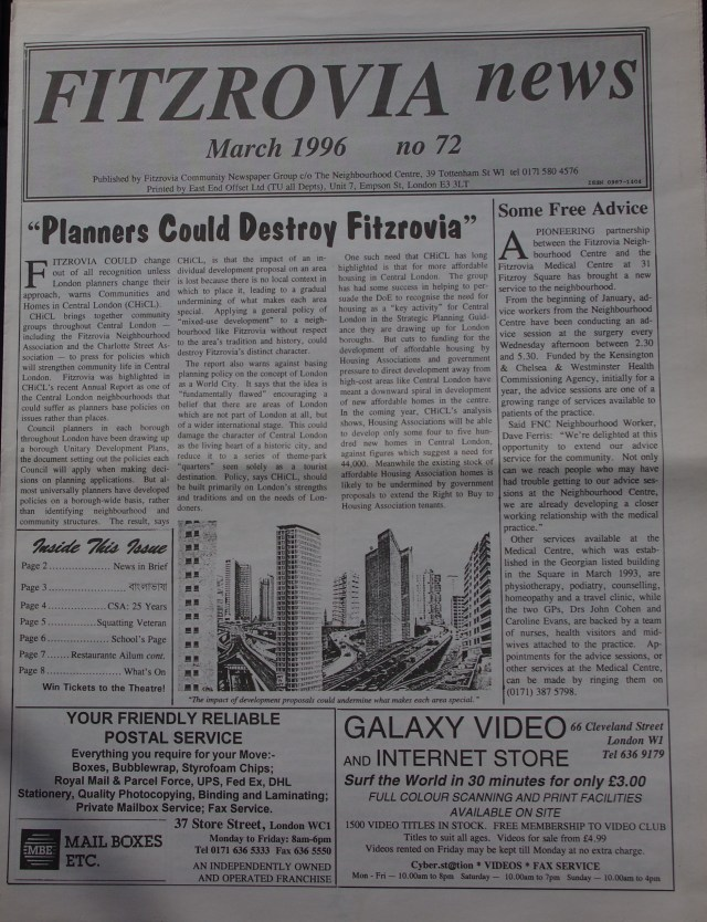 Fitzrovia News March 1996.