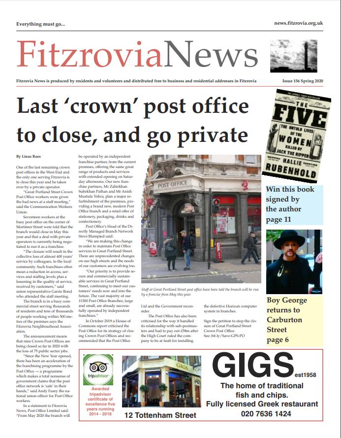 Fitzrovia News, Spring 2020.